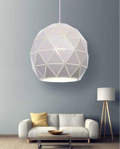 lampadario a sospensione deisgn moderno bianco poligonale