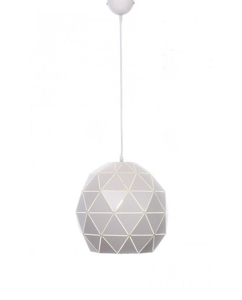lampada a sospensione design moderno poligonale bianca 55 test