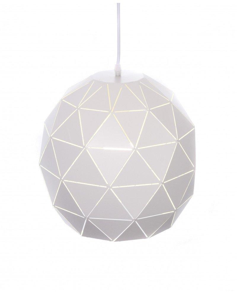lampada a sospensione design moderno poligonale bianca 7 test