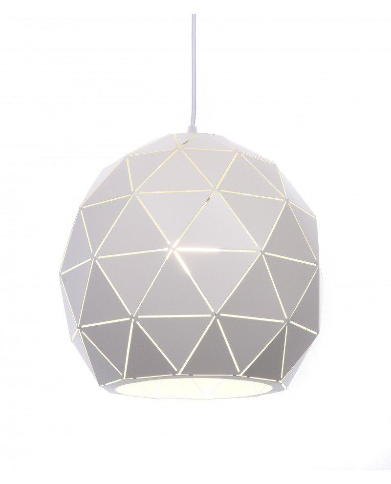 lampada a sospensione design moderno poligonale bianca test