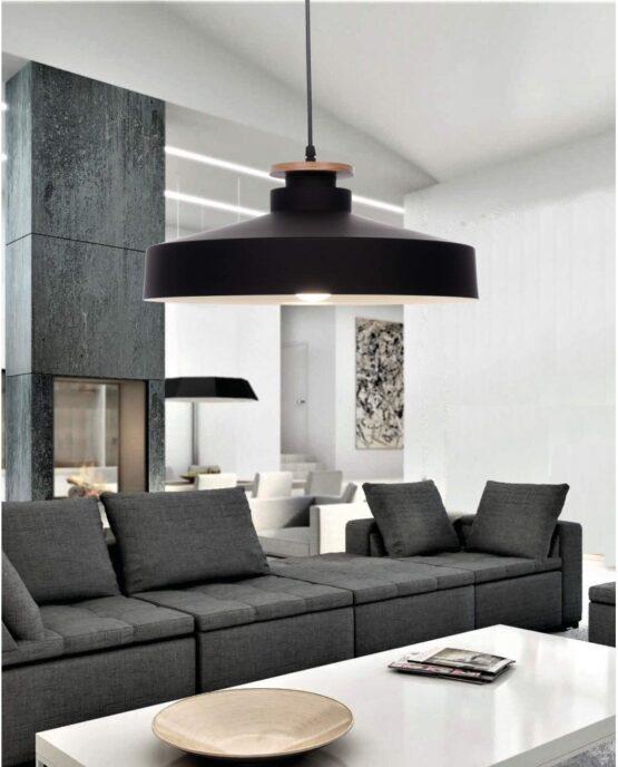 lampada a sospensione in metallo nero stile industriale