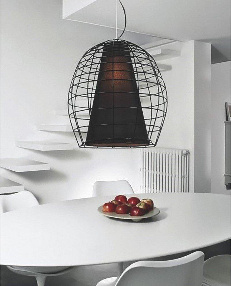 lampada a sospensione in stile brutalista in rete metallica e tessuto 1 test