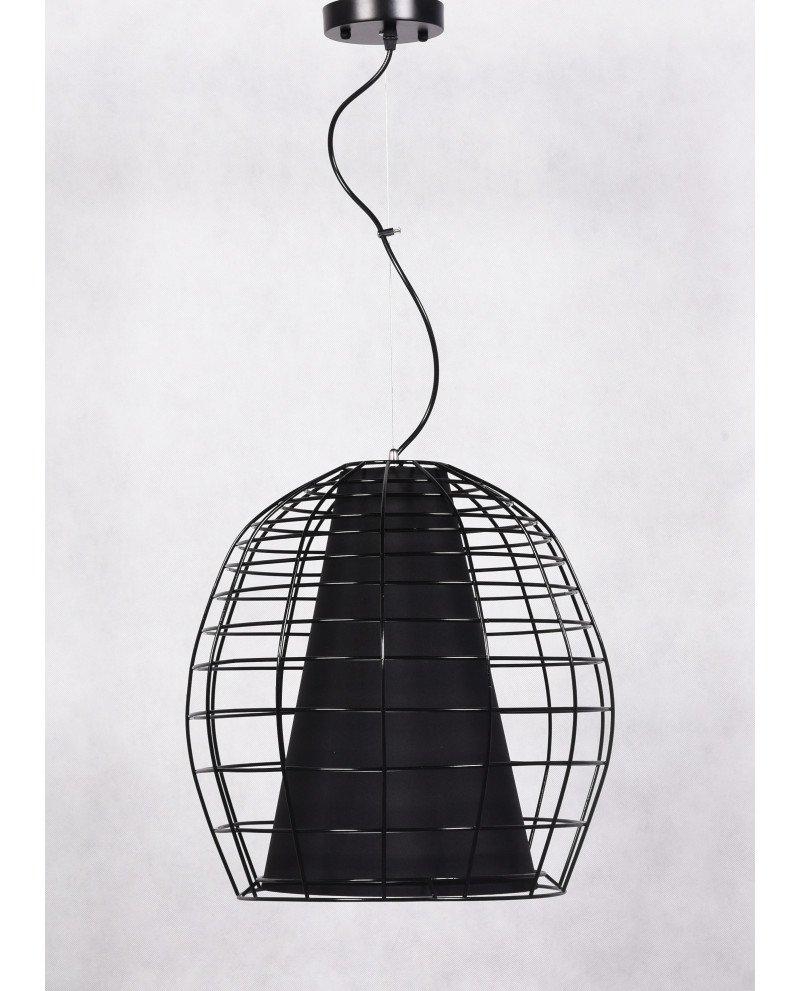 lampada a sospensione in stile brutalista in rete metallica e tessuto 123 test