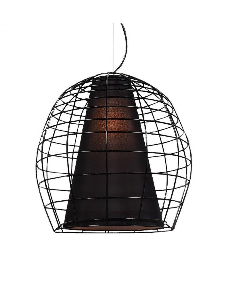 lampada a sospensione in stile brutalista in rete metallica e tessuto
