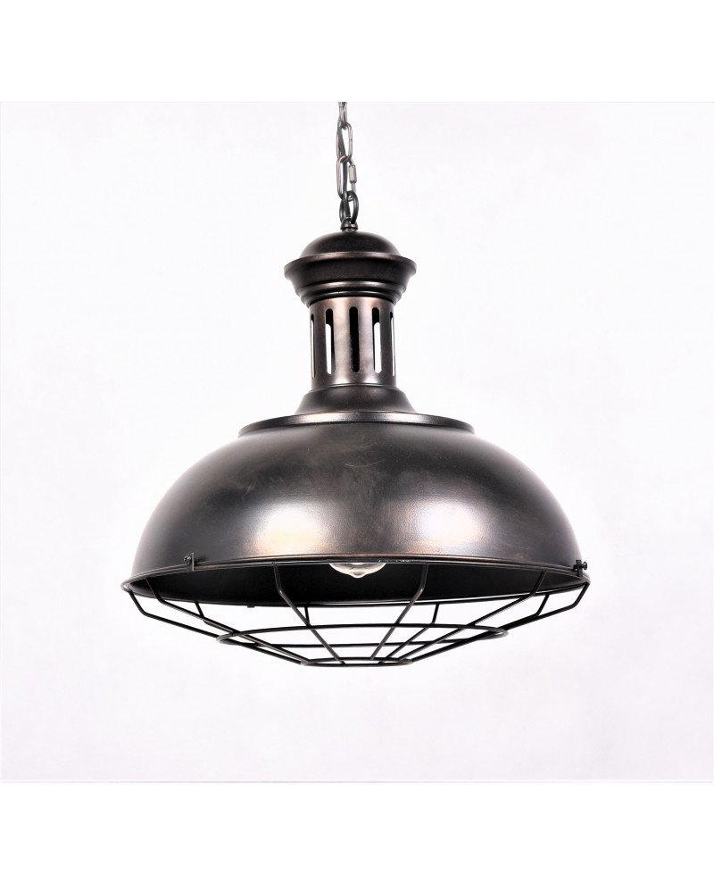lampada a sospensione industriale vintage in ottone 1 test