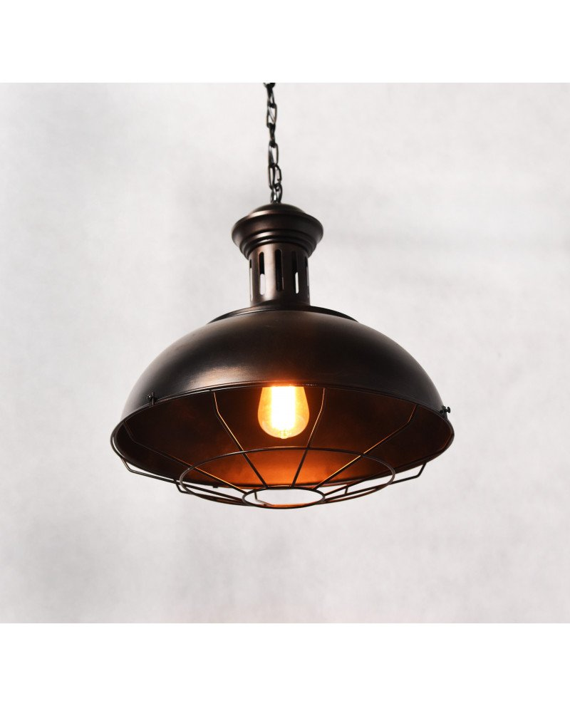 lampada a sospensione industriale vintage in ottone 123 test