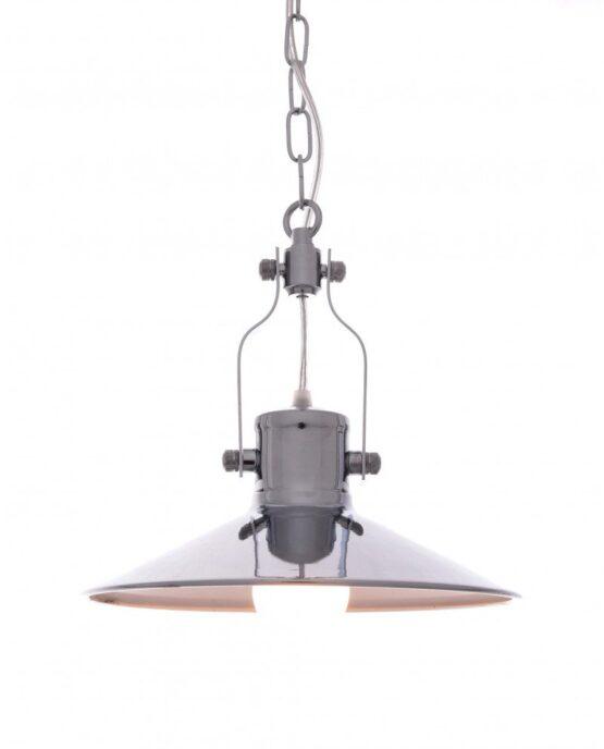 lampada a sospensione setorre metallo cromato industriale
