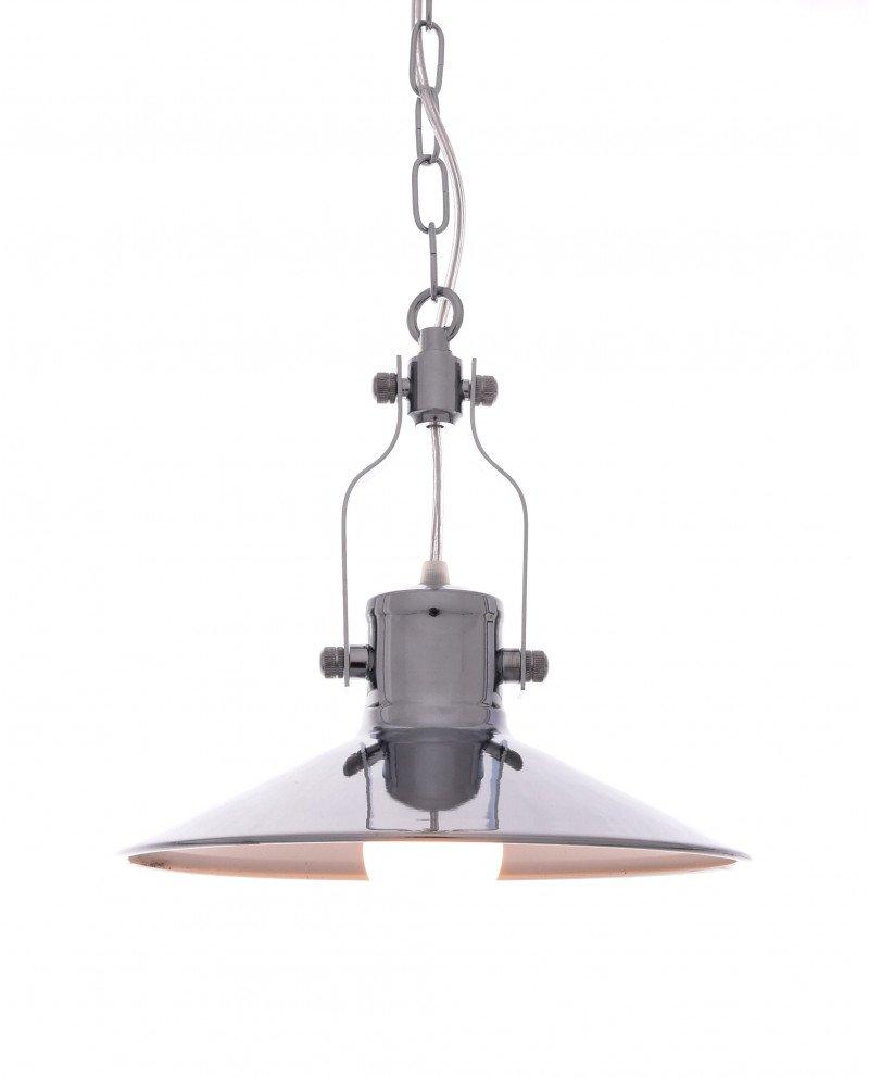 lampada a sospensione setorre metallo cromato industriale 1 test