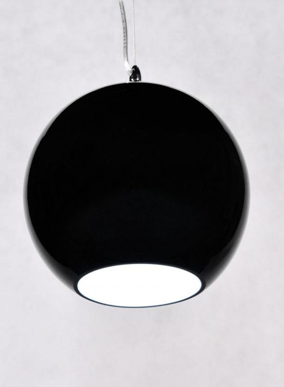 lampada appesa sfera vetro nero lucido