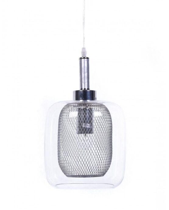 lampada da soffitto di design forma barattolo argento