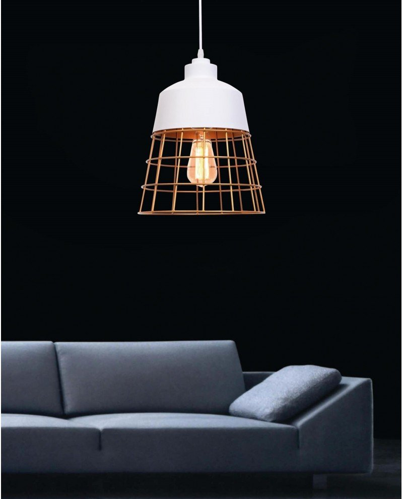 lampada da soffitto rustica in metallo bianca 1 test
