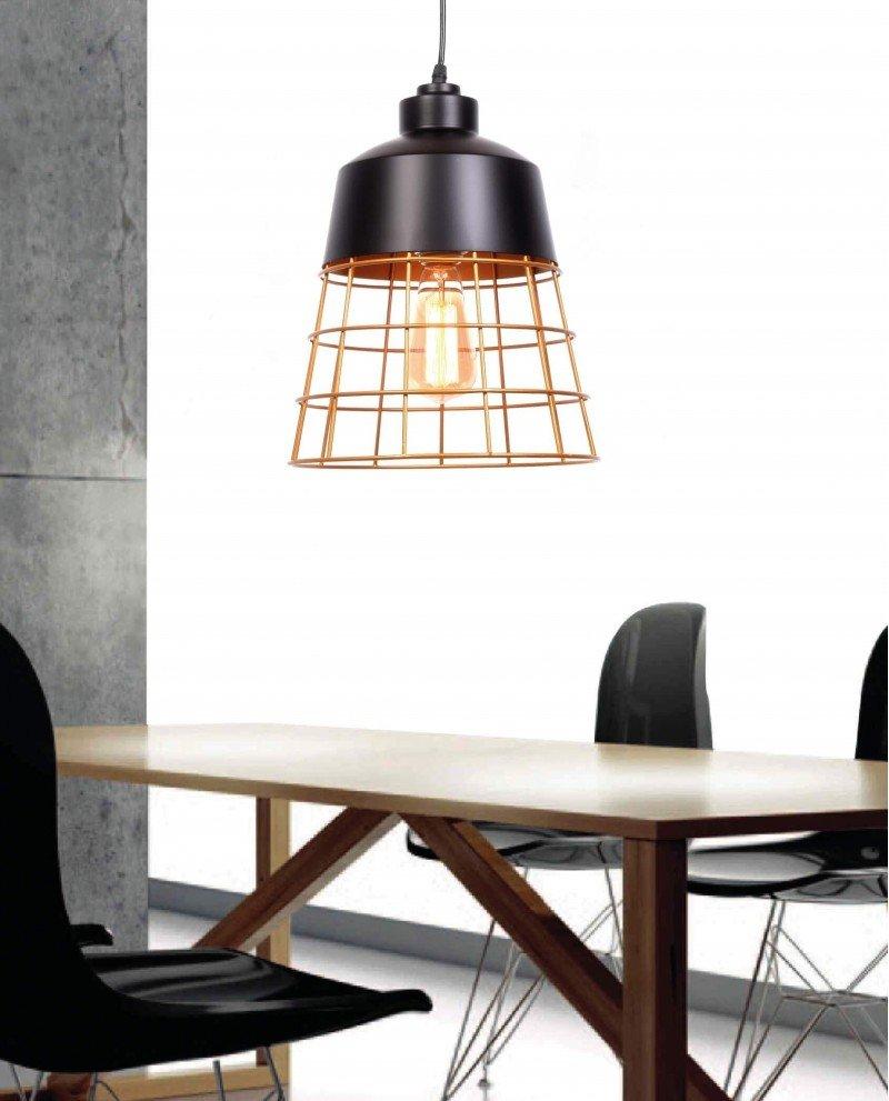 lampada da soffitto rustica in metallo nera 1 test