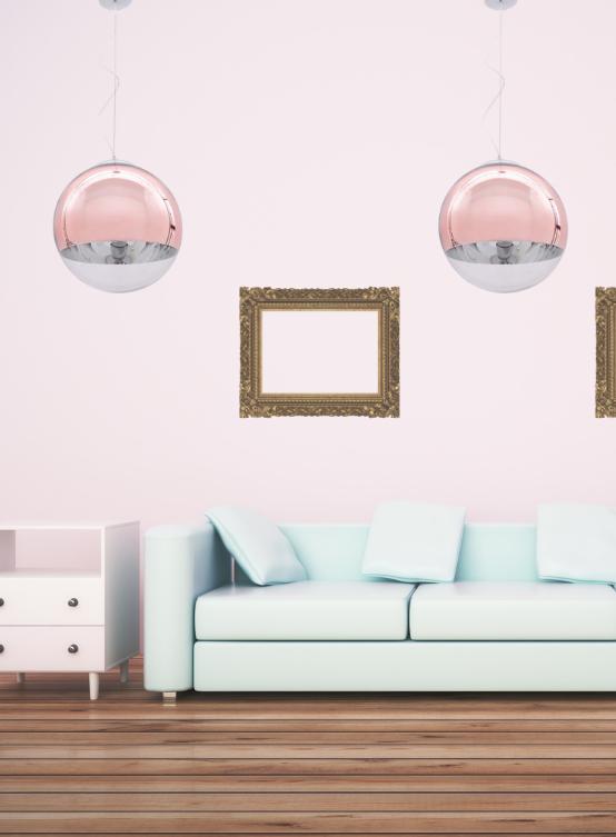 lampada design palla di vetro oro rosa