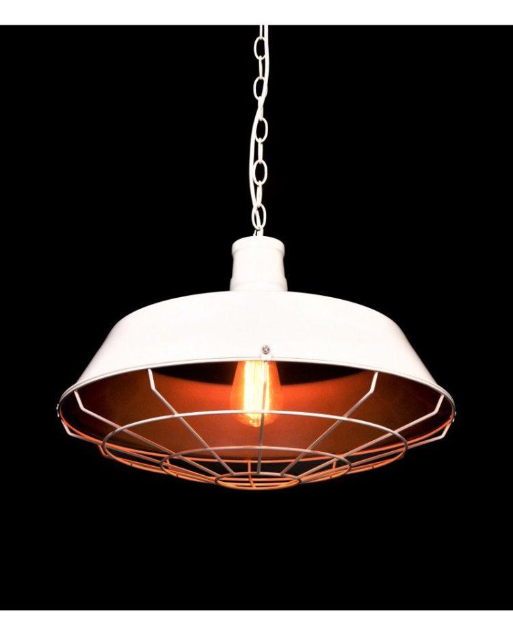 lampada in stile industriale per illuminazione vintage bianca