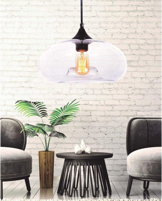 lampada in stile scandinavo in vetro trasparente brosso