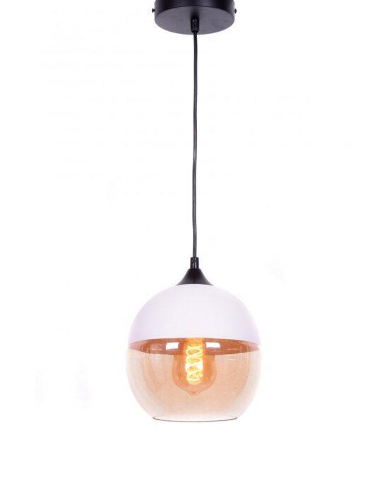 lampada industriale per loft in metallo colore bianco e vetro