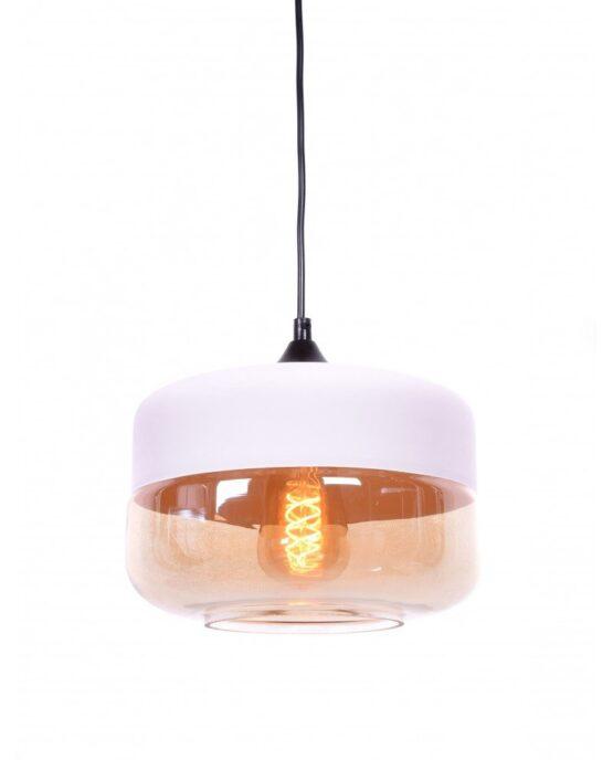 lampada industriale vintage vetro nera a sospensione bianca