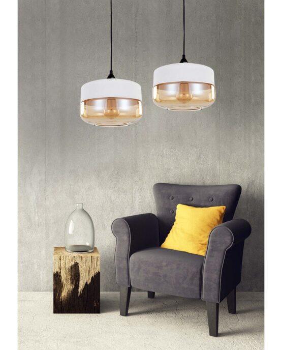 lampada industriale vintage vetro nera a sospensione bianca doppia