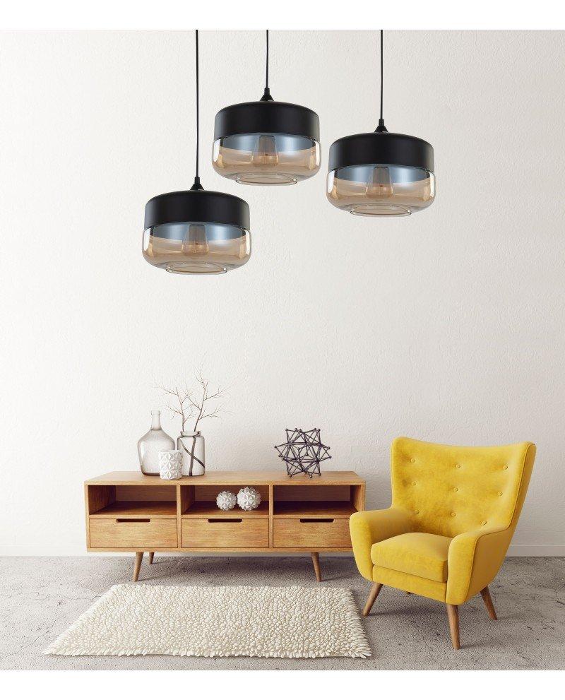 lampada industriale vintage vetro nera a sospensione nera 1 test