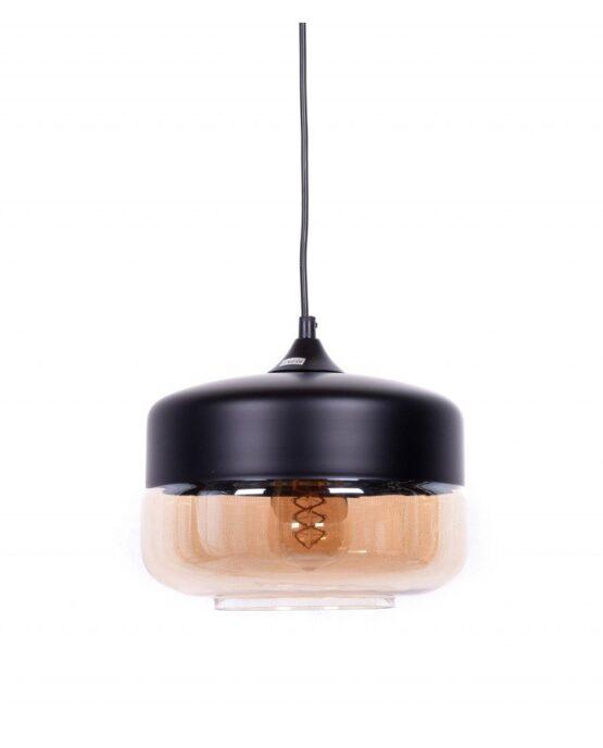 lampada industriale vintage vetro nera a sospensione nera