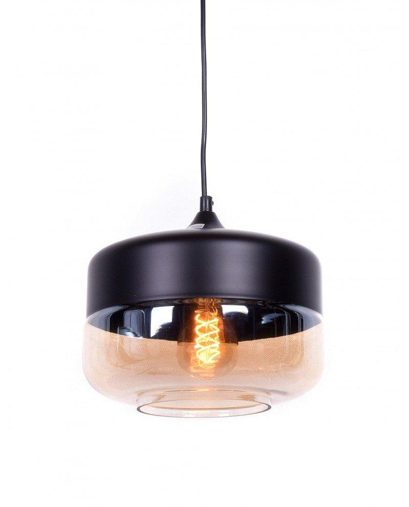 lampada industriale vintage vetro nera a sospensione nera test