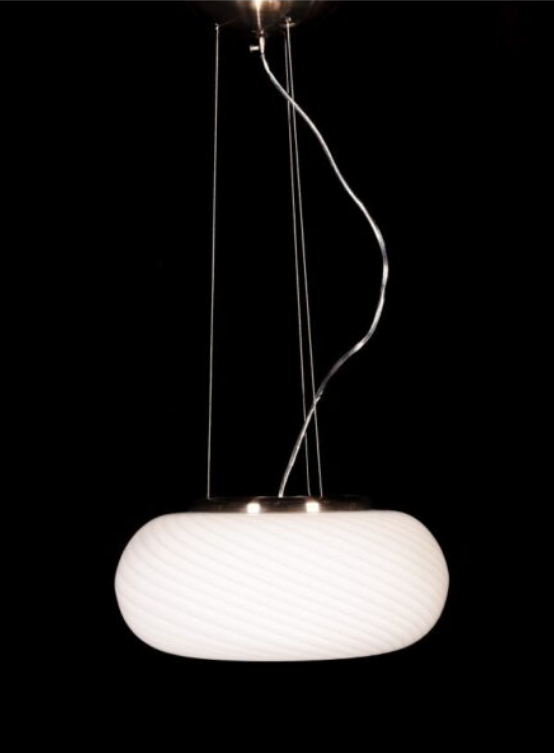 lampada moderna bianca a sospensione con paralume vetro
