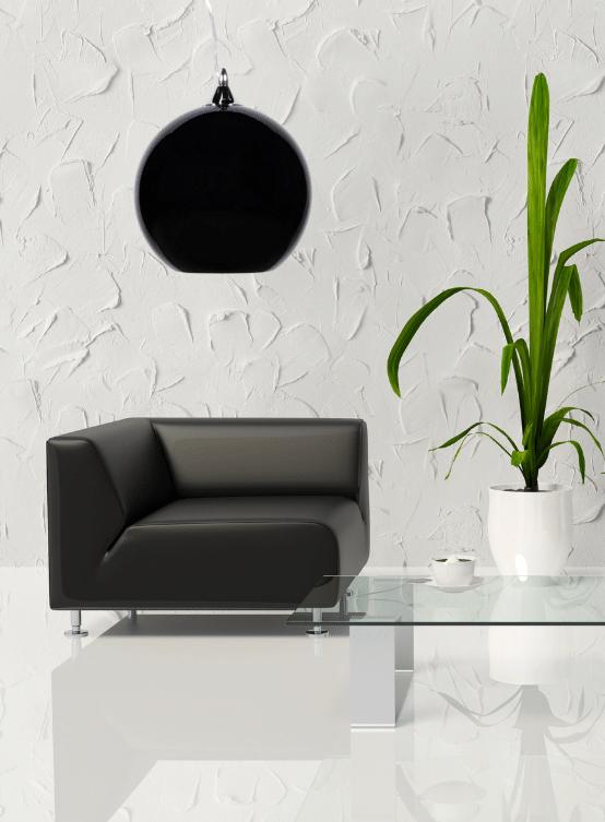 lampada palla vetro nero lucido