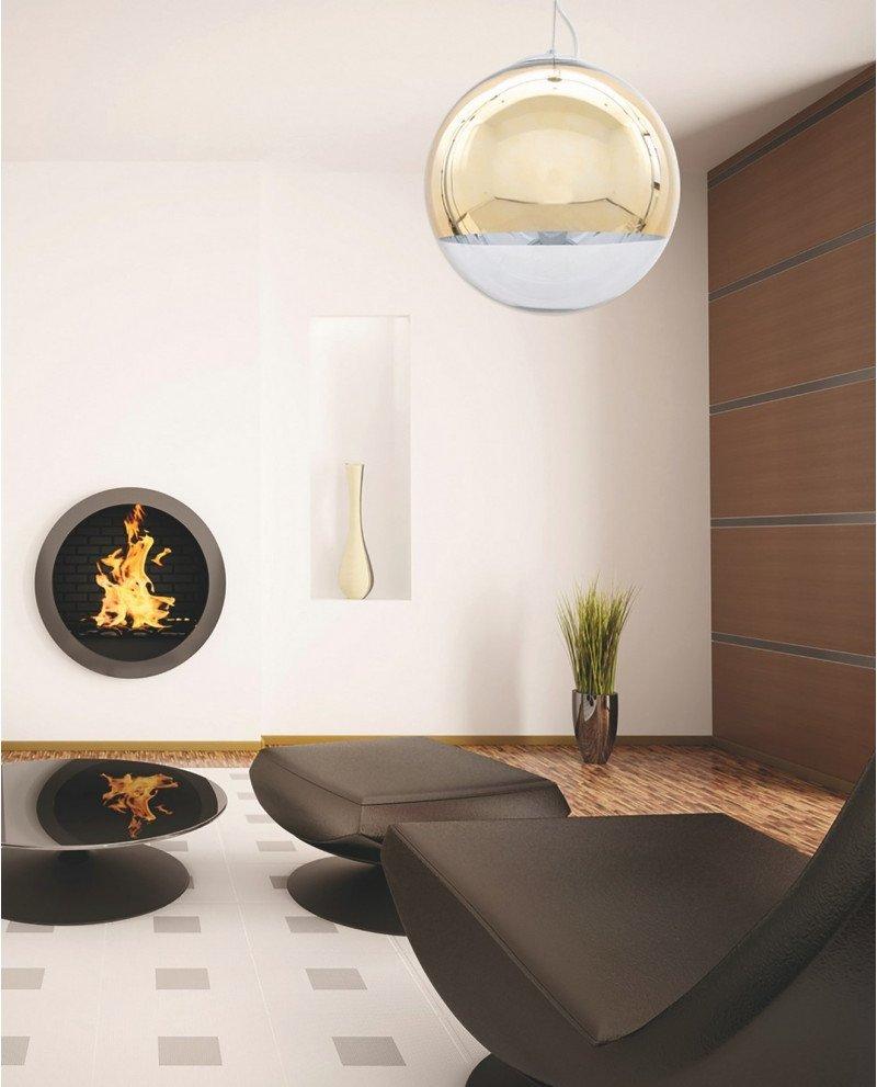 lampada sfera vetro dorata specchio design moderno 1 test