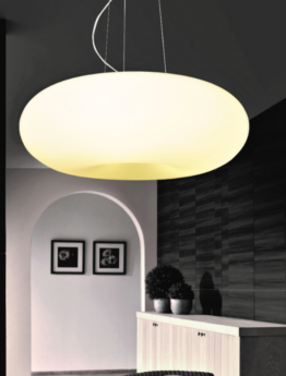 lampada a soffitto moderna forma tonda con paralume bianco