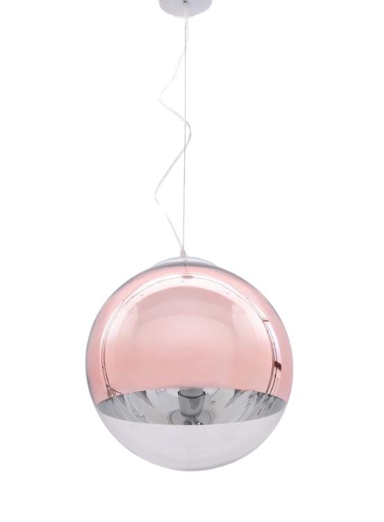 lampada a soffitto palla vetro rosa