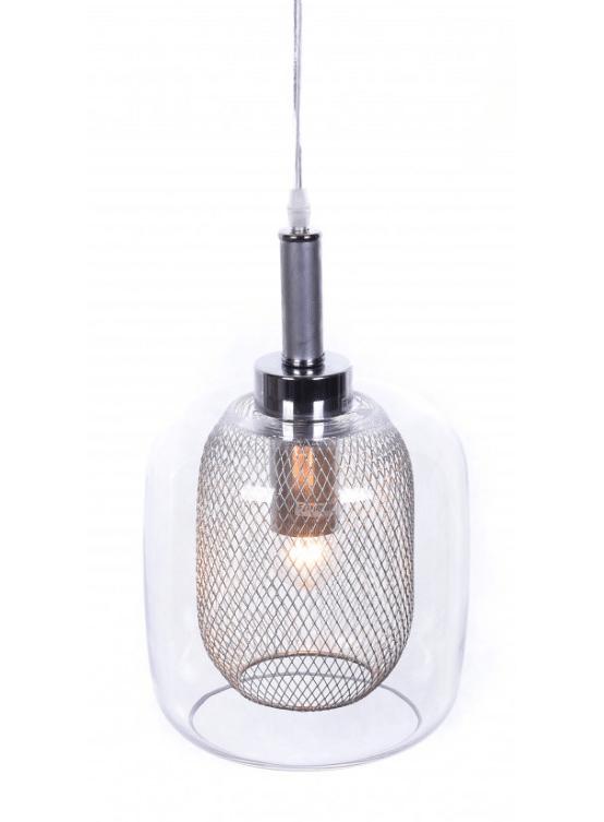 lampada soffitto vetro trasparente in rete metallica