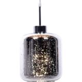 lampada a sospensione design a forma di barattolo cromato