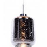 lampada a sospensione di design a forma di barattolo vetro cromato