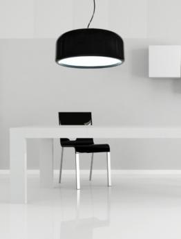 lampada a sospensione design paralume nero lucido