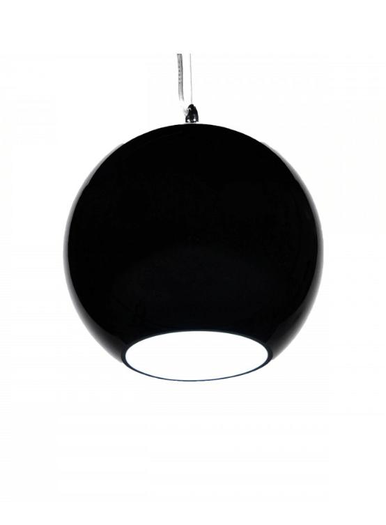 lampada a sospensione nera paralume sferico