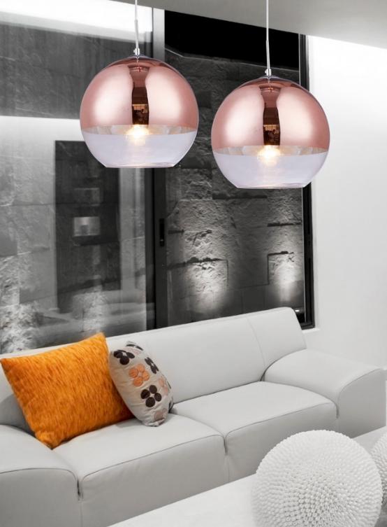 lampada sospensione a sfera oro rosa