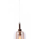 lampada a sospensione in vetro trasparente e filo trasparente
