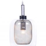 lampada a sospensione in vetro trasparente con rete metallico