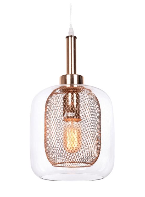 lampada vetro a sospensione in stile chic oro rosa