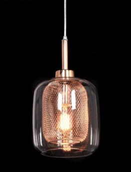 lampada vetro a sospensione color oro rosa