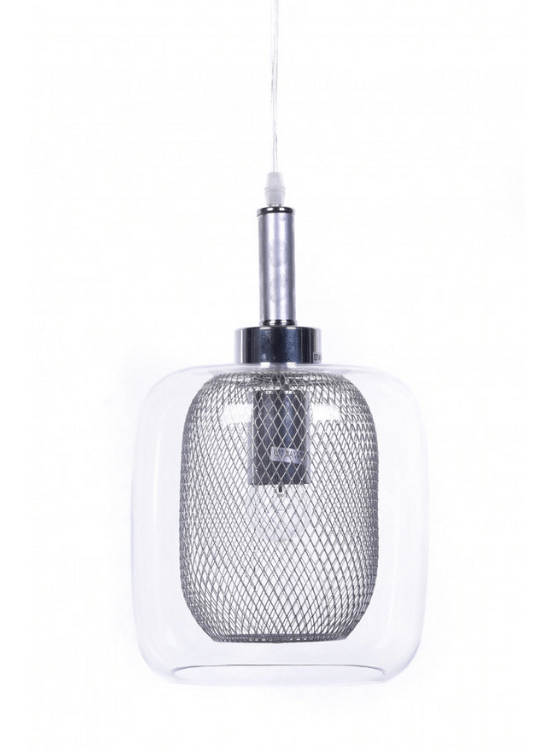 lampadari vetro trasparente rete metallica con forma circolare
