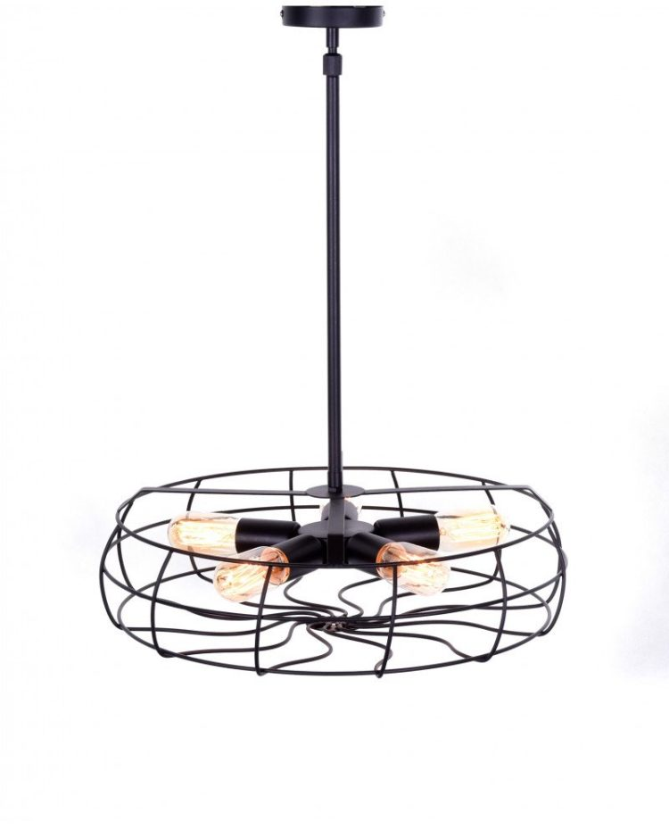 lampadario 5 luci in ferro in stile industriale vintage
