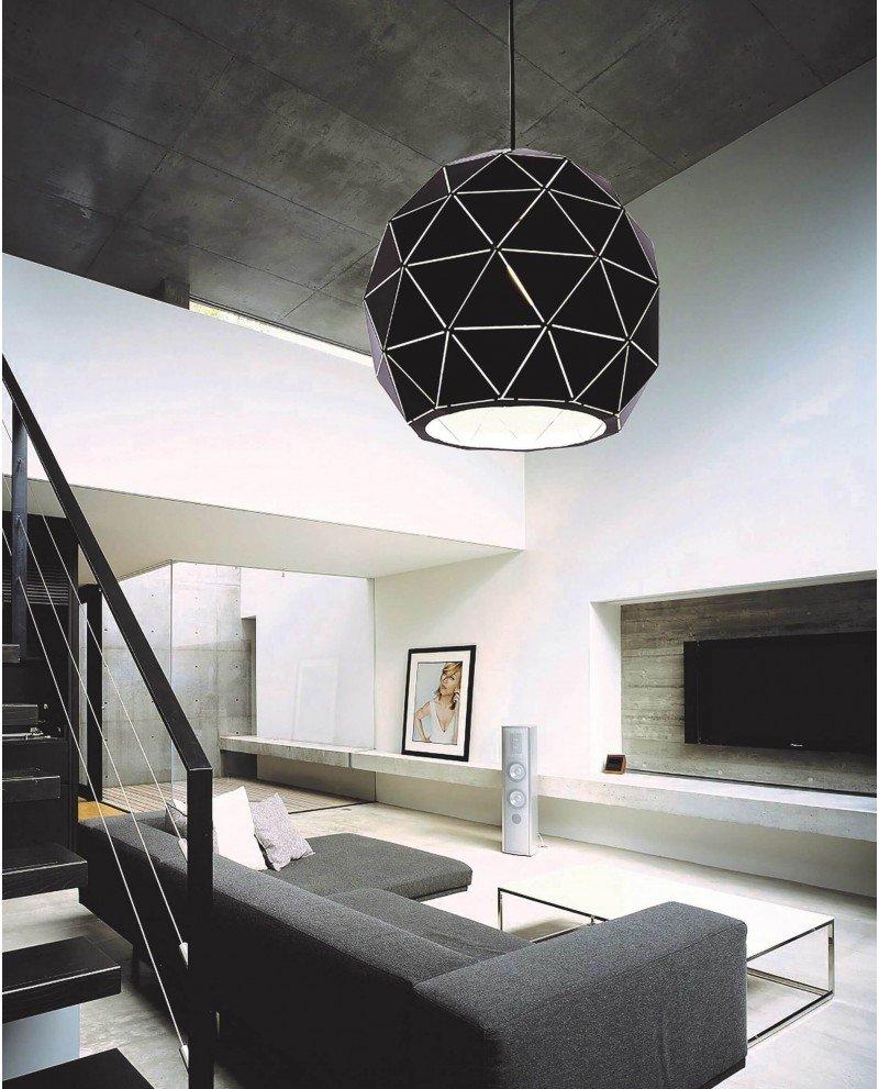 lampadario a sospensione deisgn moderno nero poligonale 1 test