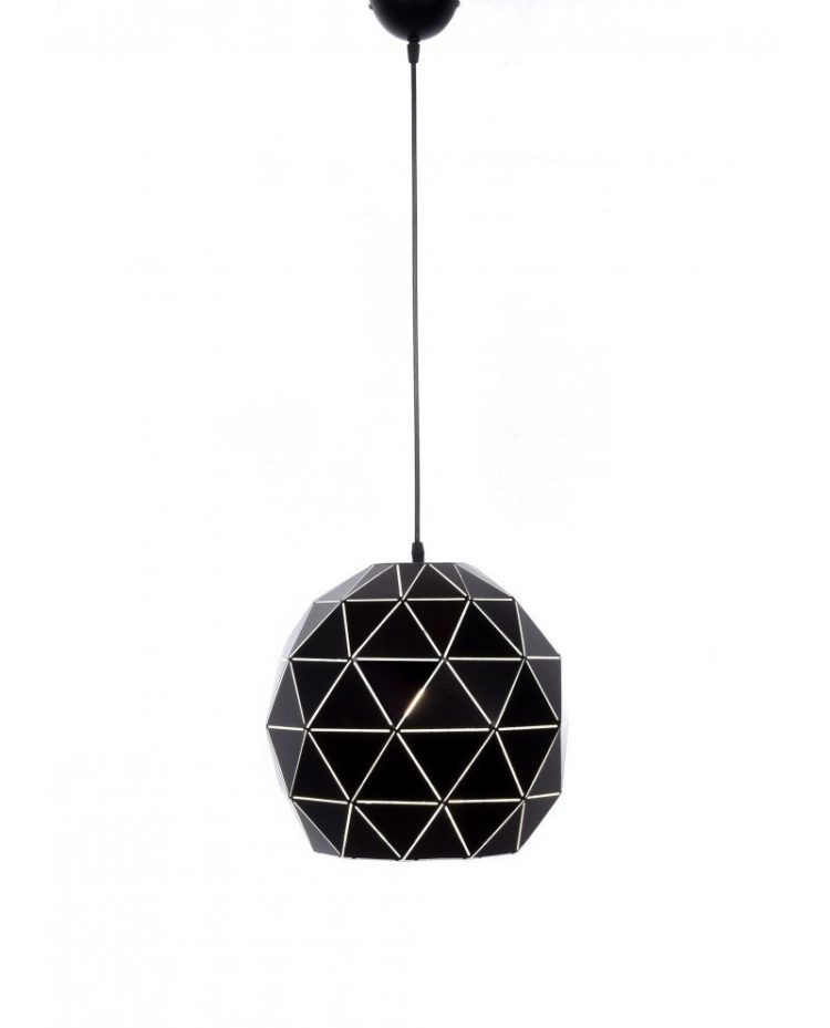 lampadario a sospensione deisgn moderno nero poligonale