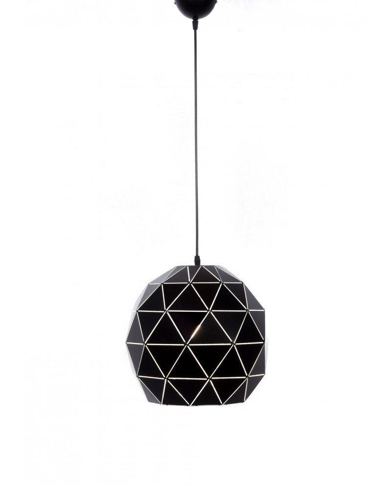 lampadario a sospensione deisgn moderno nero poligonale 5 test