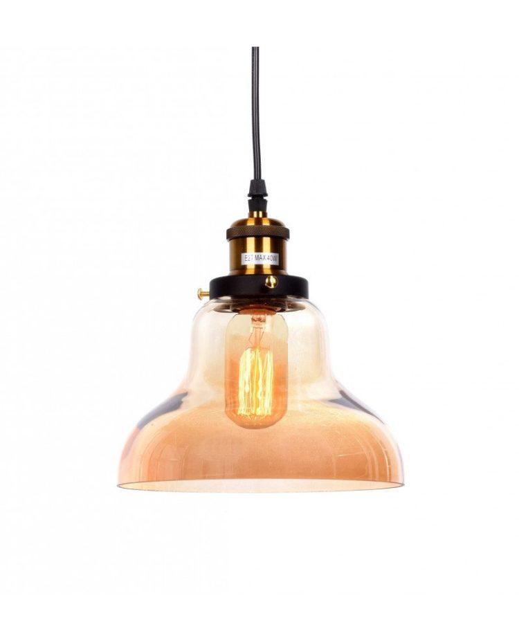lampadario a sospensione in stile steampunk in vetro ambrato
