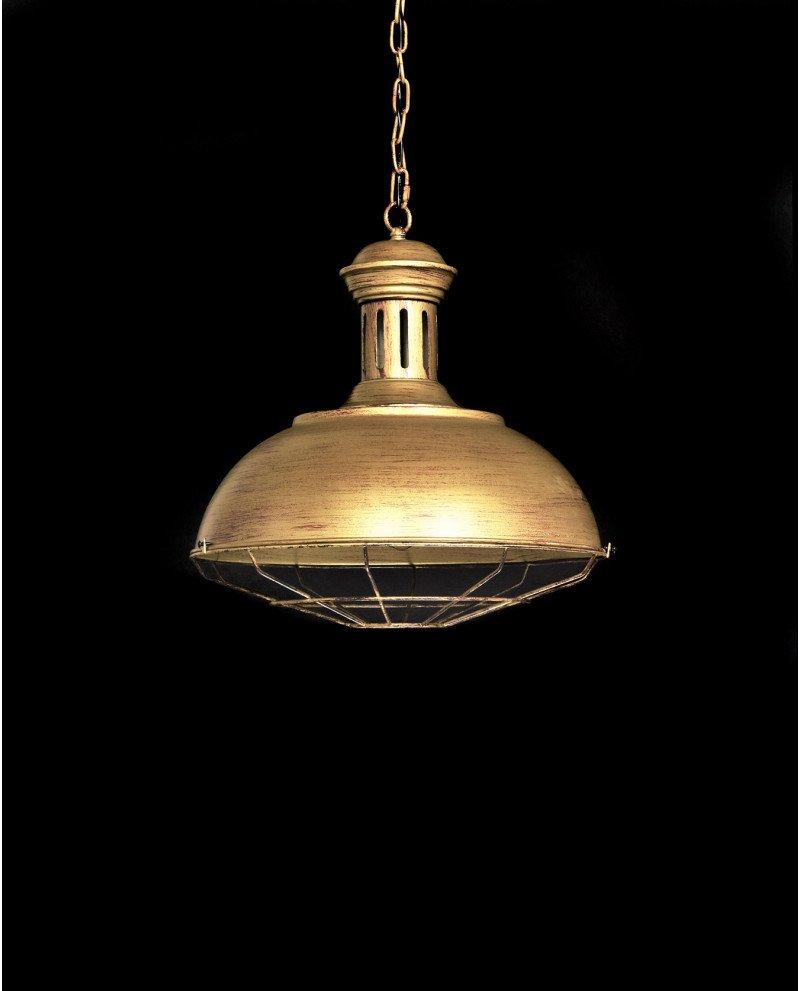 lampadario a sospensione industriale vintage oro vecchio metallo fabbrica 1 test