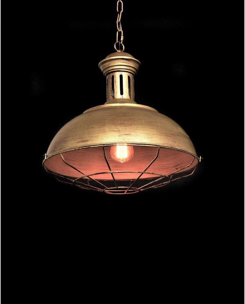 lampadario a sospensione industriale vintage oro vecchio metallo fabbrica