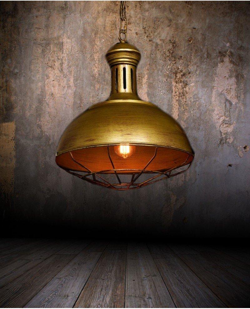 lampadario a sospensione industriale vintage oro vecchio metallo fabbrica 1233 test