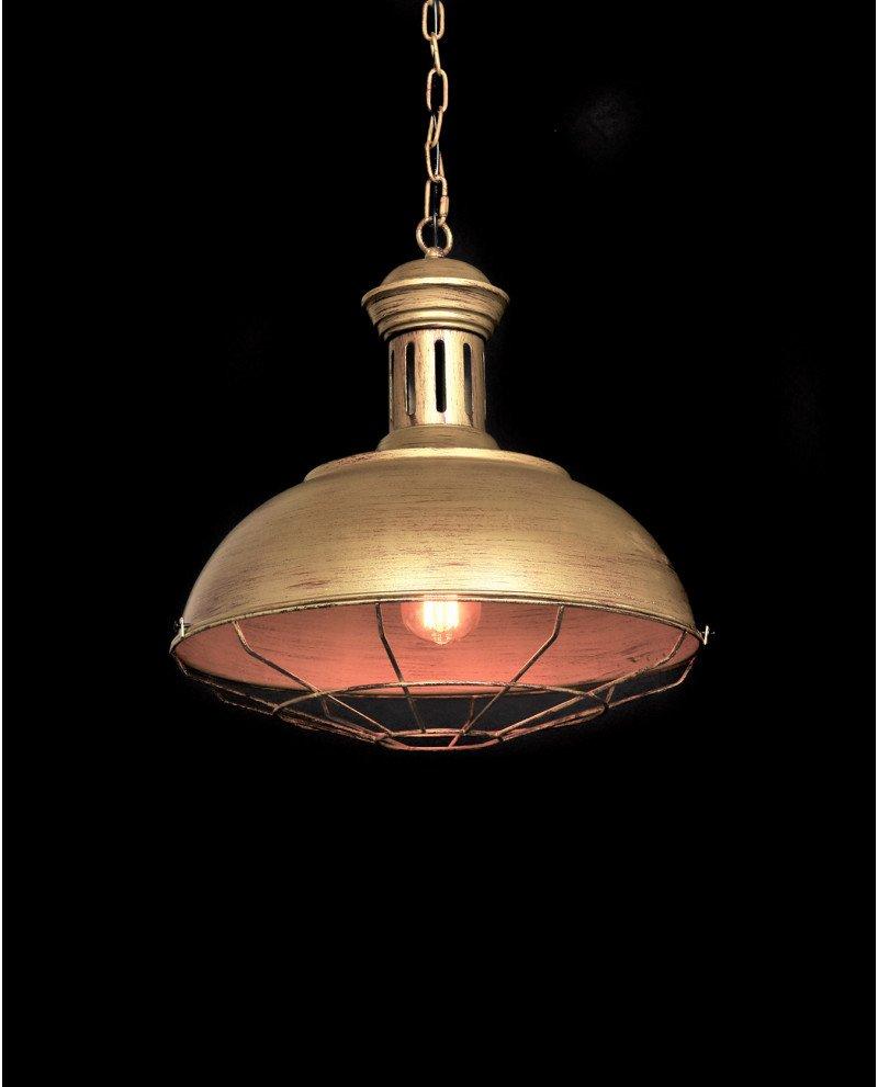 lampadario a sospensione industriale vintage oro vecchio metallo fabbrica test